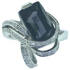 L. Van Giel  Diamonds and Saphire Art Nouveau  Ring