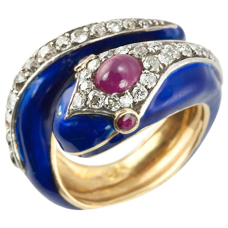 Enamel Snake Ring with Diamonds and Rubies  For Sale