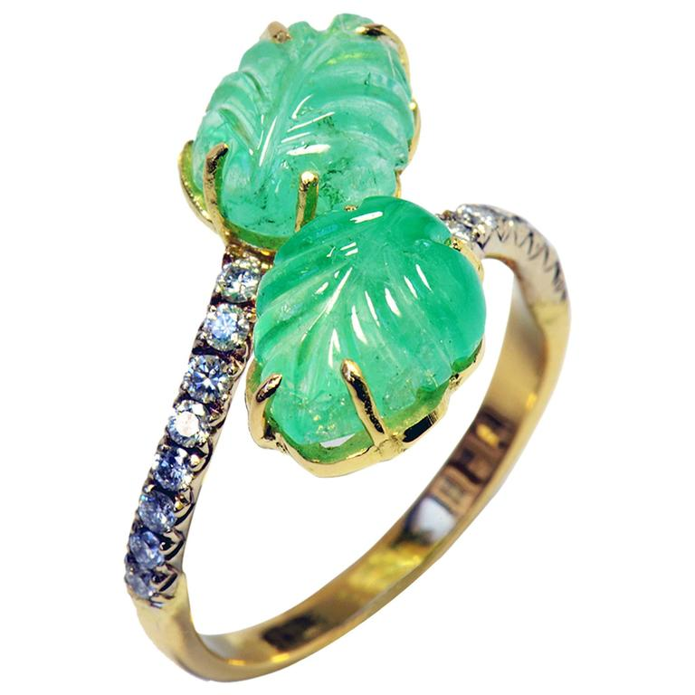 Marion Jeantet Engraved Emerald Leaves Diamonds Ring
