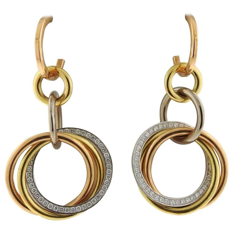 Cartier Trinity Tri Color Gold Diamond Drop Earrings For Sale