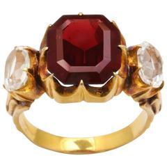 Victorian Octagon Garnet Rock Crystal Gold Ring, 18kt