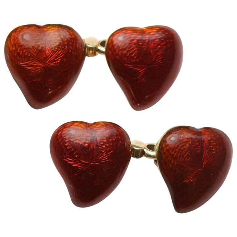 Giuliano red enamel gold heart cufflinks for sale at 1stdibs for The triumph of love jewelry 1530 1930
