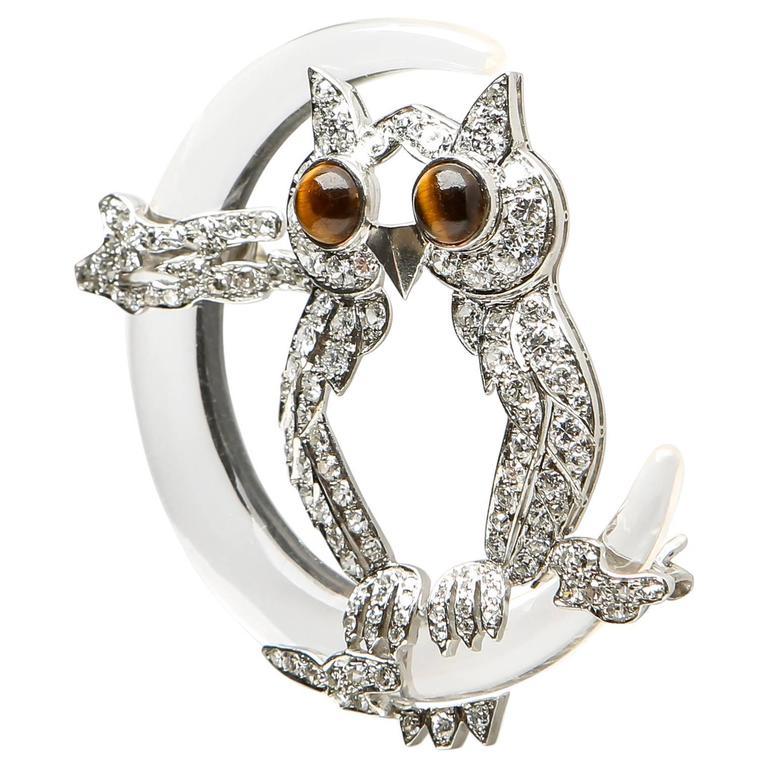 Rock Crystal Crescent Moon Platinum Diamond Owl Brooch