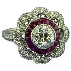 Diamond Ruby Platinum Ring