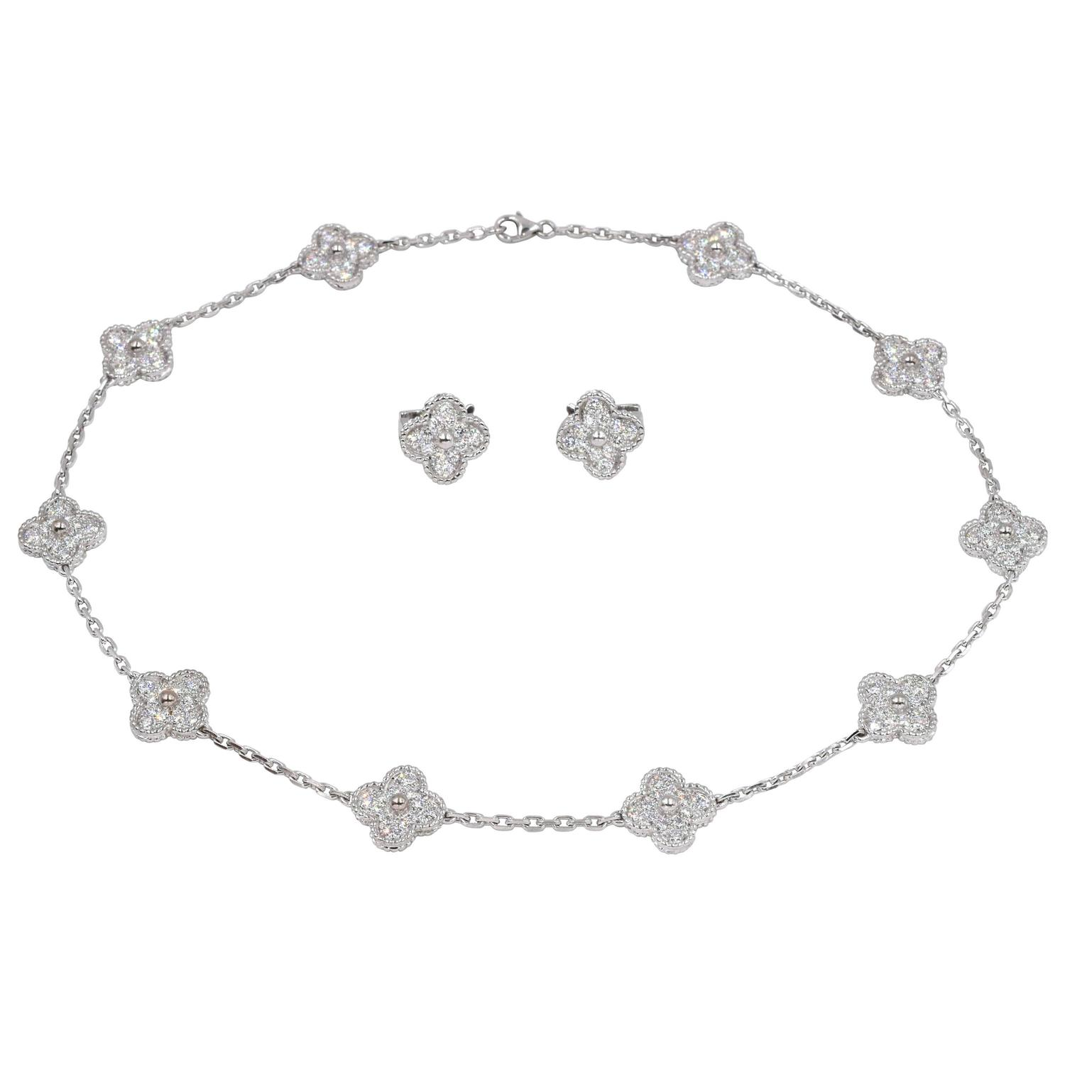 Van cleef and arpels diamond alhambra necklace and earrings at 1stdibs aloadofball Choice Image