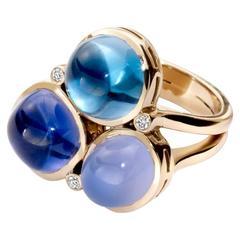 Fuscata Blue Chalcedony Iolite Blue Topaz Diamond Gold Ring