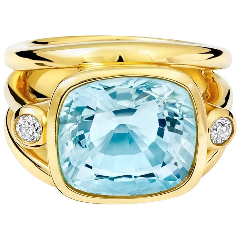 Aeneus Roman Aquamarine Diamond Gold Ring