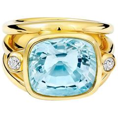 Aeneus Roman Aquamarine Diamond Gold Ring
