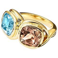 Confucius Blue Topaz Smoky Quartz Gold Ring