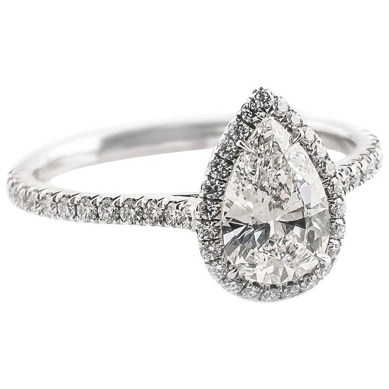 Campanelli & Pear Diamond Platinum Engagement Ring For Sale