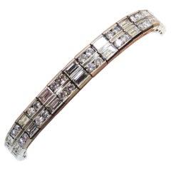 Stunning Platinum Baguette and Round Diamond Flexible Bracelet