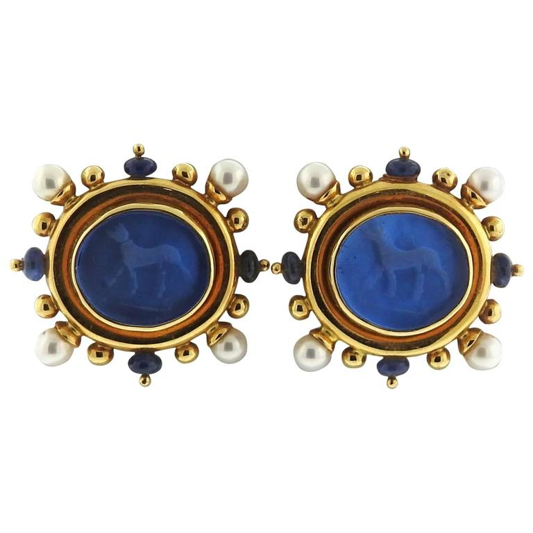Elizabeth Locke Gold Pearl Shire Venetian Gl Intaglio Earrings For