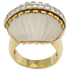 Le Triomphe Frost Crystal Diamond Gold Ring