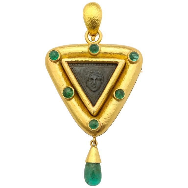 Elizabeth Locke Carved Lava Emerald Gold Pendant Brooch 1