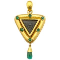 Elizabeth Locke Carved Lava Emerald Gold Pendant Brooch