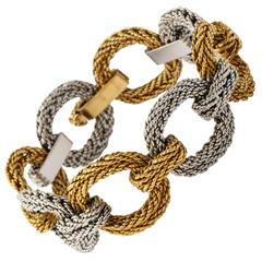 Cartier Two Tone Gold Rope Link Bracelet