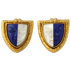 1970s Torrini Carved Lapis Lazuli, Pearl, Diamond, Gold Cufflinks