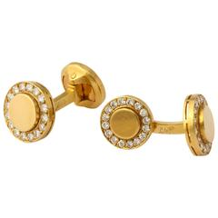 Fred Paris Diamond Gold Cufflinks