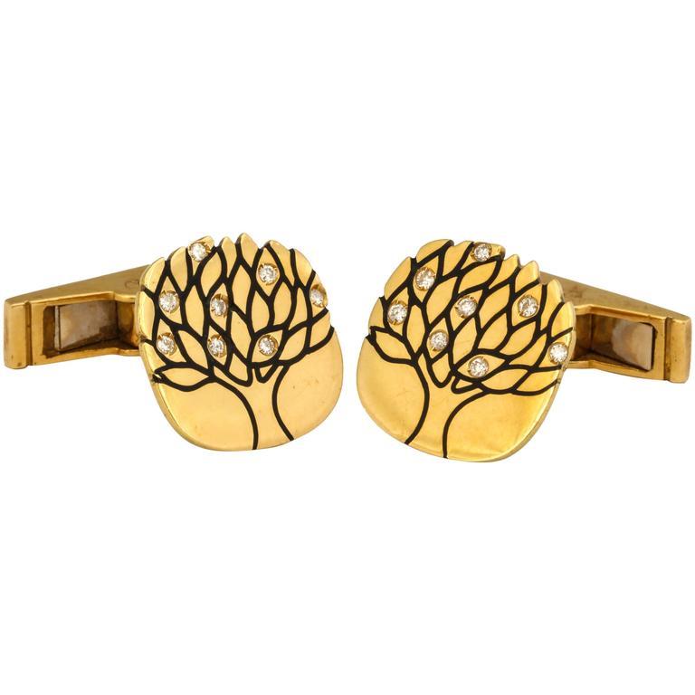 1960s Diamond Enamel Gold Cufflinks