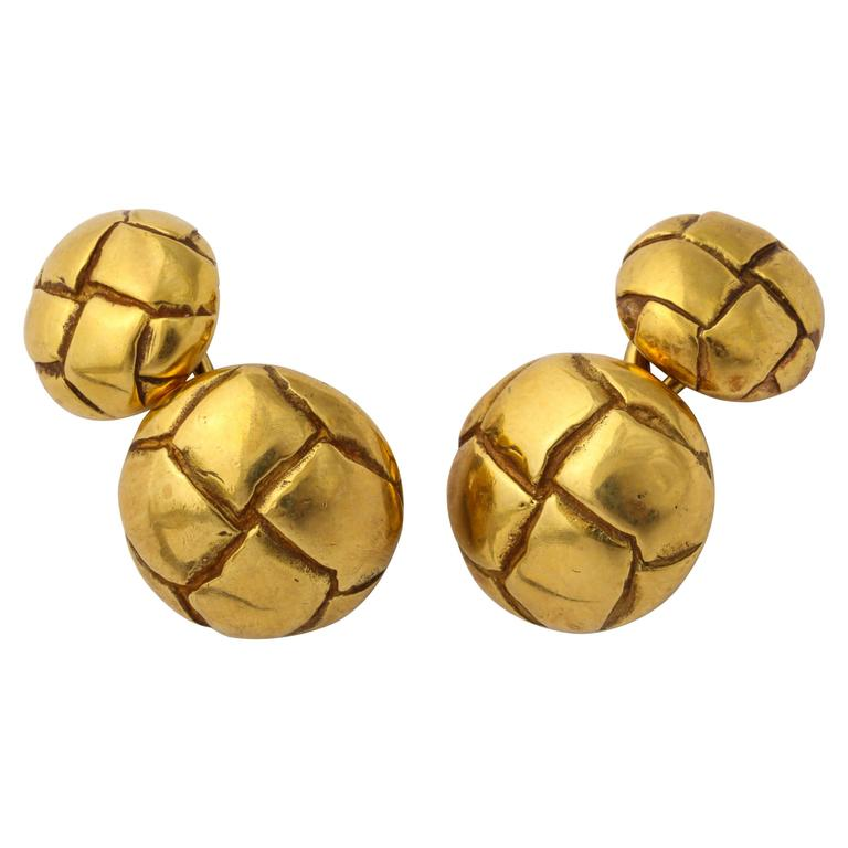 1979 Tiffany Gold Leather Button Cuff Links For Sale
