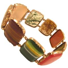 Antique Agate Yellow Gold Bracelet