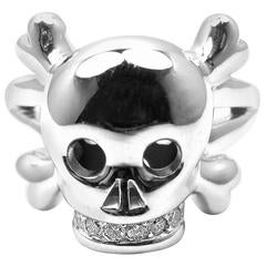 Christian Dior Tete de Mort Diamond Gold Skull Ring