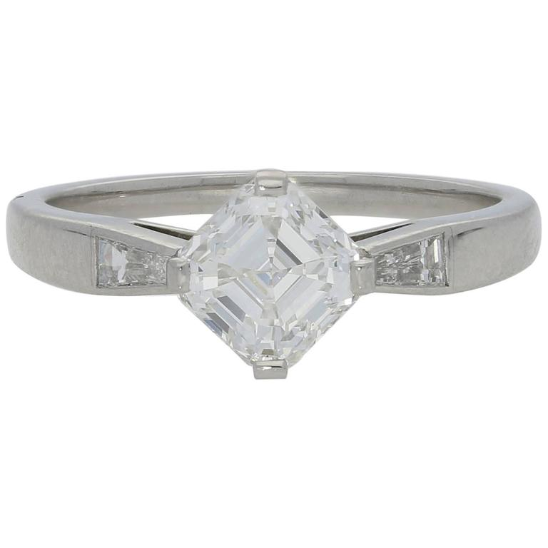 Hancocks 1.21 Carat Asscher Cut Diamond Platinum Solitaire Ring