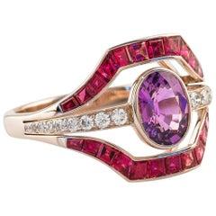French Art Deco Rare Purple Sapphire & Ruby & Diamond 18 Karat Rose Gold Ring