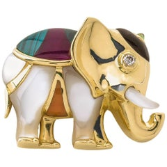 Asch Grossbardt Gold Elephant Brooch