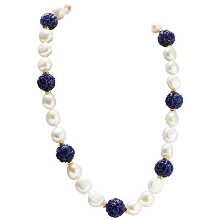 Pearl carved Lapis bead Necklace
