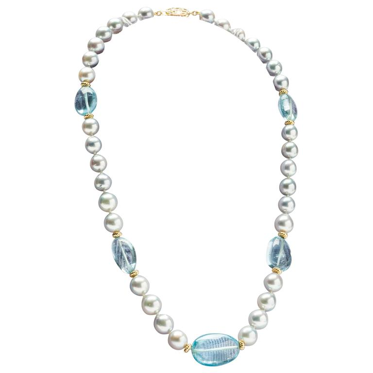 Pearl And Blue Topaz Necklace At 1stdibs