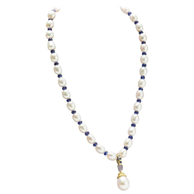 South Sea white pearl pendant and pearl sapphire necklace