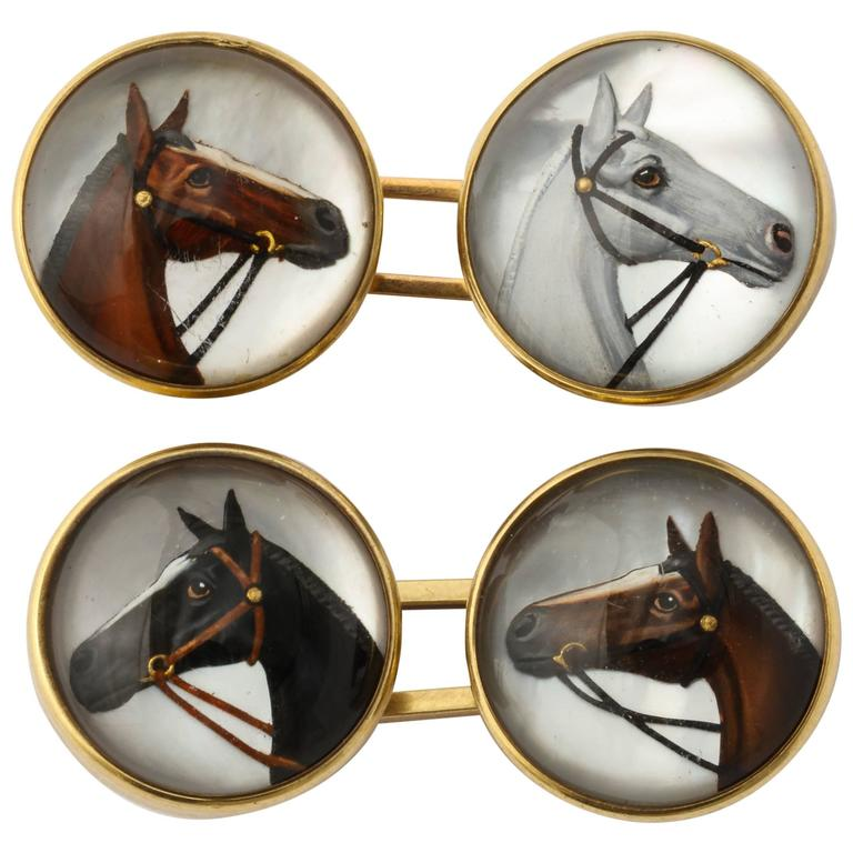 Horse Head Reverse Painted Intaglio Crystal Gold Cufflinks For Sale
