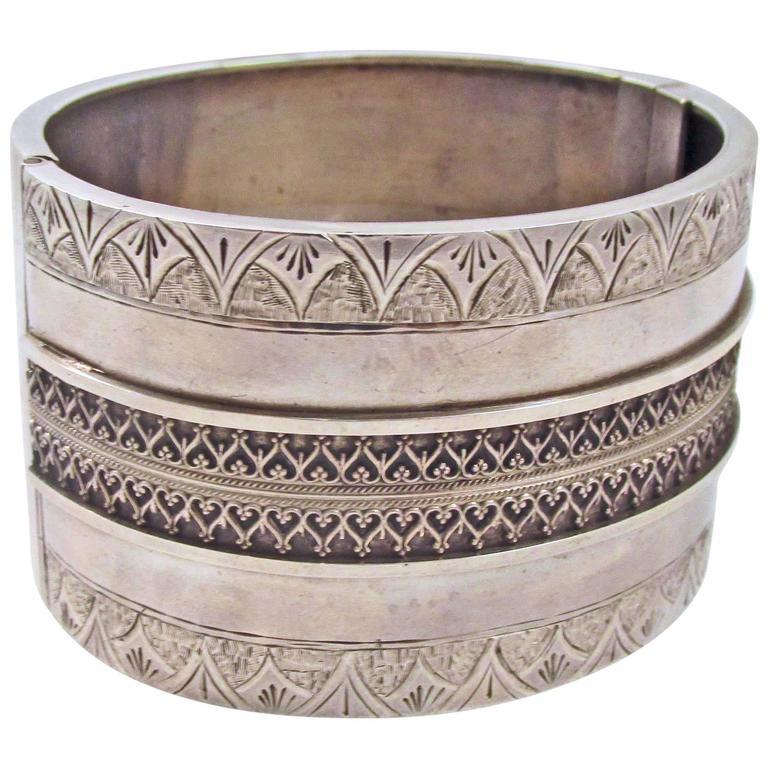 Antique Sterling Silver Bangle Bracelet