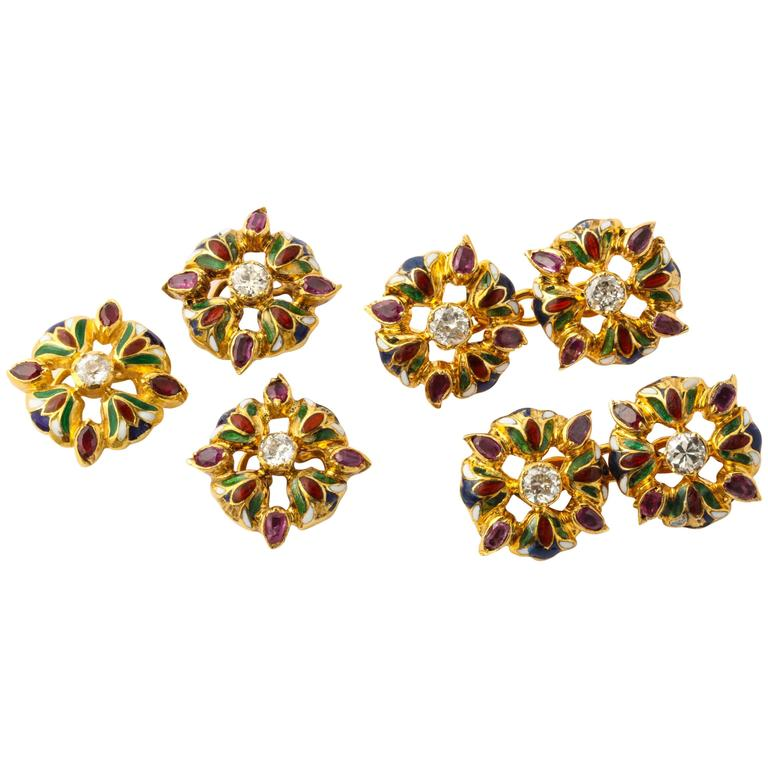 Egyptian Lotus Flower Diamond Ruby Enameled Gold Cufflink and Stud Set For Sale