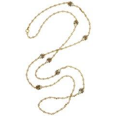 1890s Antique Art Nouveau Long Opal Plique-a-Jour Gold Chain