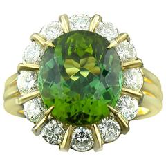 Green Tourmaline and Diamond Ring in Yellow Gold