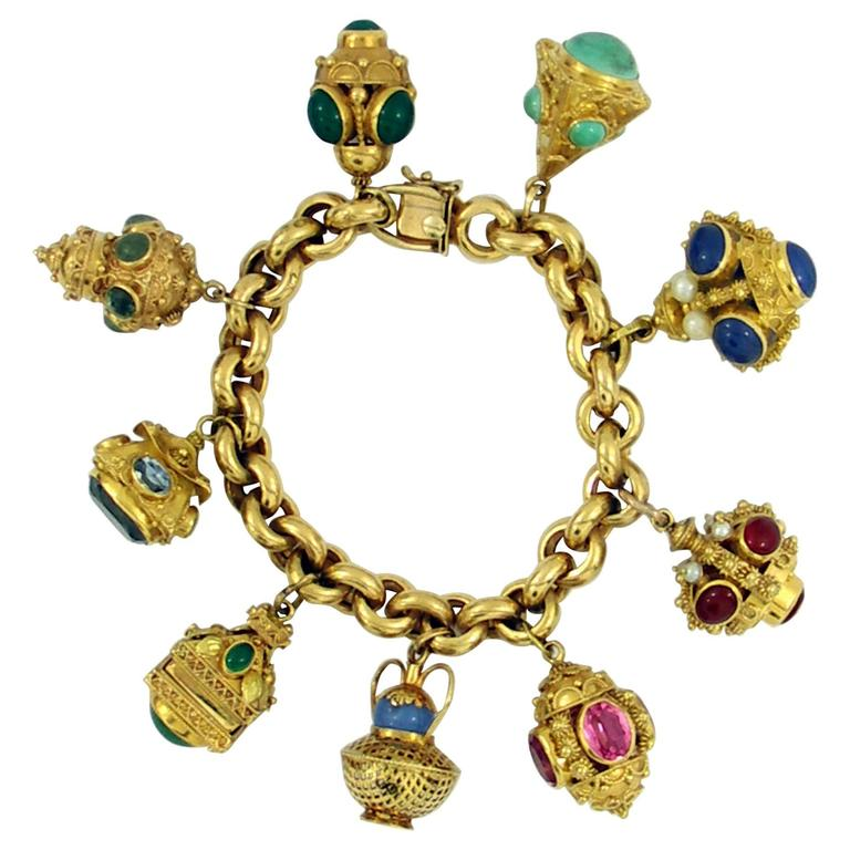 Gold Charm Bracelets: Gold Italian Etruscan Inspired Charm Bracelet For Sale At