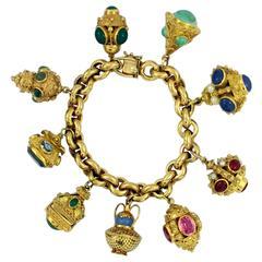 Gold Italian Etruscan Inspired Charm Bracelet