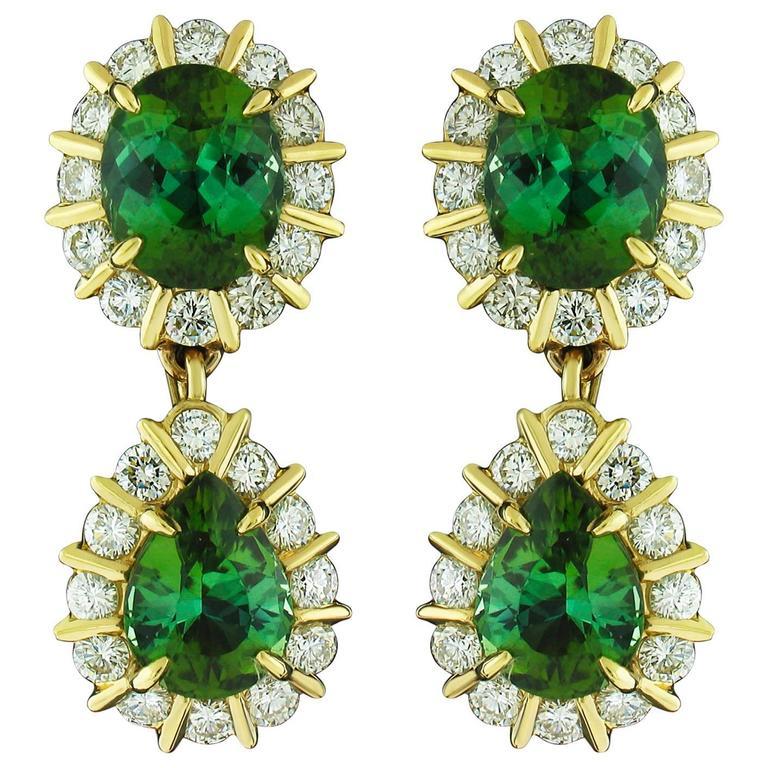 Green Tourmaline and Diamond Earrings 1