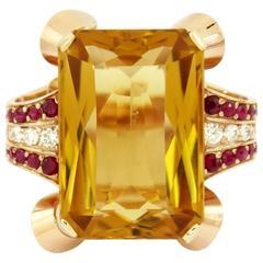 Retro Citrine Diamond Ruby Ring