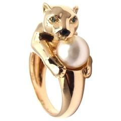 Cartier Panther Pearl Onyx Emerald Yellow Gold Ring