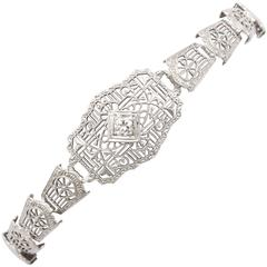 Art Deco Gold Filligre and Diamond Bracelet