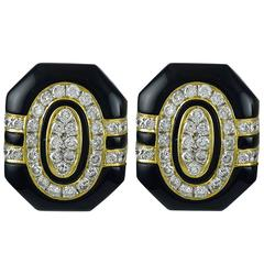 Gorgeous Black Enamel Diamond Gold Earrings