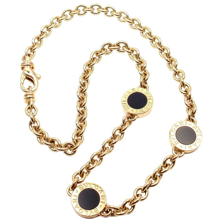 Bulgari black onyx link yellow gold necklace at 1stdibs bulgari black onyx link yellow gold necklace for sale aloadofball Images