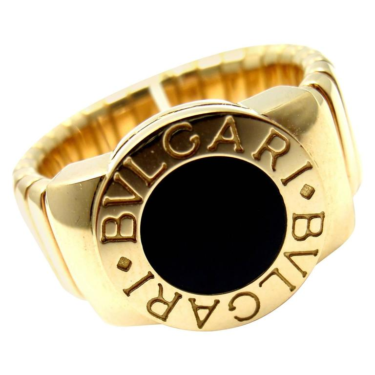Bulgari Tubogas Black Onyx Yellow Gold Band Ring