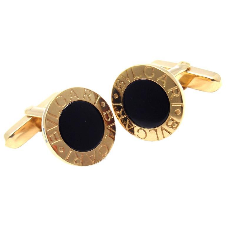 Bulgari Black Onyx Yellow Gold Cufflinks