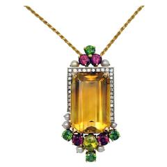 Citrine Mixed Stones and Pearl Gold Pendant