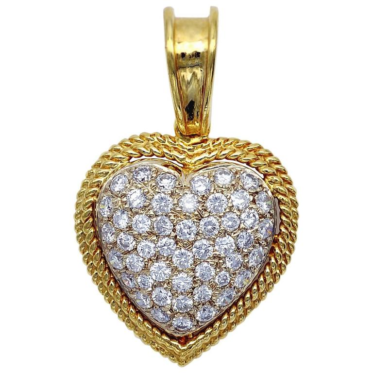Diamond and Gold Heart Pendant For Sale
