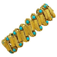 Cartier 1950s Turquoise Gold Bracelet